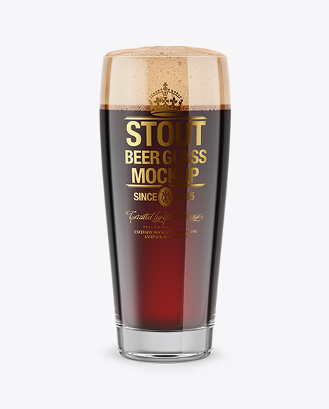 Willi Becher Glass With Stout Beer Mockup