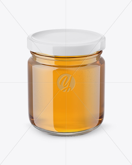 Glass Jar with Honey Mockup - Front View (High Angle Shot)
