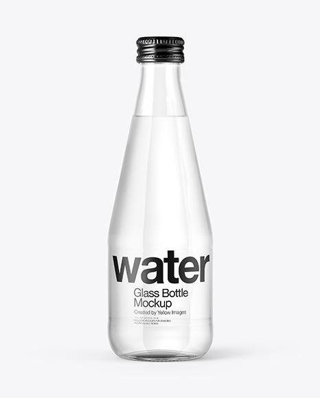 Download Clear Glass Water Bottle Mockup Object Mockups
