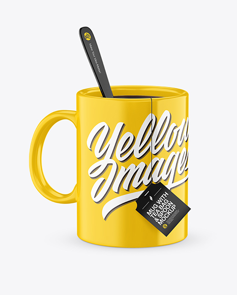Download Glossy Mug With Tea Bag & Spoon Mockup (High-Angle Shot) Object Mockups