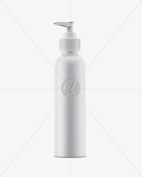 Matte Aluminium Bottle With Pump Mockup