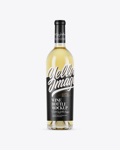 750ml Clear Glass White Wine Bottle Mockup