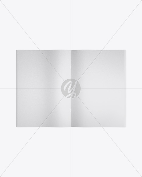 Opened Textured Magazine Mockup - Top View