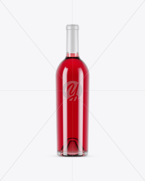 750ml Clear Glass Pink Wine Bottle Mockup