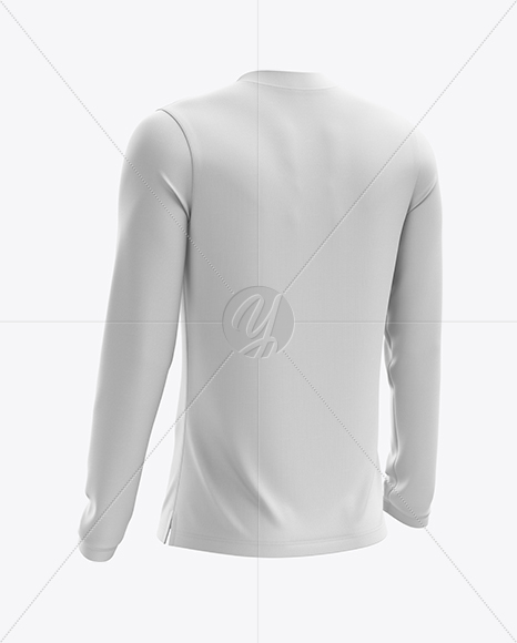 Men's Soccer V-Neck Jersey LS mockup (Back Half Side View)