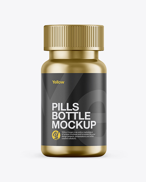 Download Free Metallic Pills Bottle Mockup - Front View PSD Template
