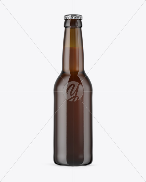 330ml Amber Glass Bottle with Lager Beer Mockup