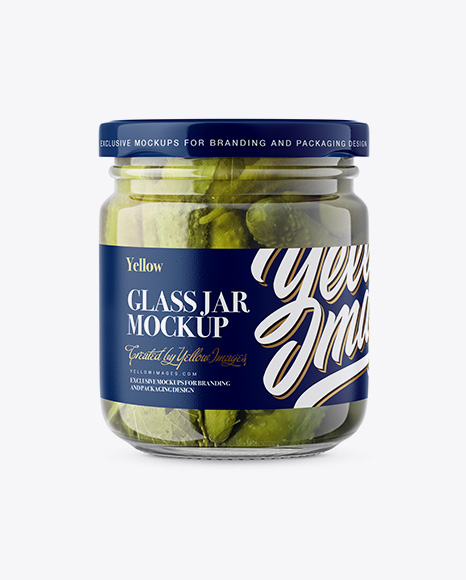 Download Glass Jar with Cucumbers Mockup - Front View Object Mockups