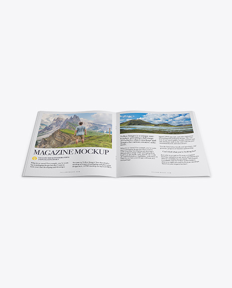 Download Opened Textured Magazine Mockup - High Angle Shot Object