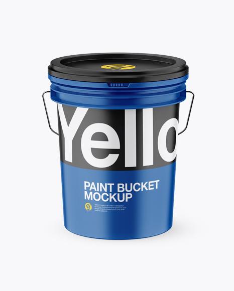 Matte Plastic Paint Bucket Mockup (High-Angle Shot)