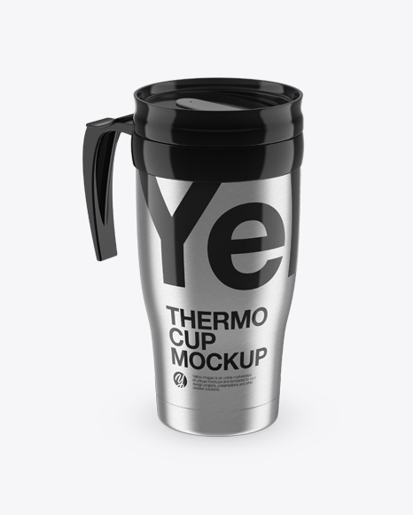 Download Steel Thermo Cup Mockup (High-Angle Shot) Object Mockups