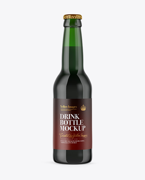Download 330ml Green Glass Bottle with Dark Beer Mockup Object Mockups