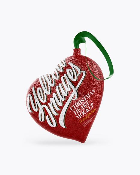 Сhristmas Chocolate Foil-Wrapped Heart  Mockup - Half Side View