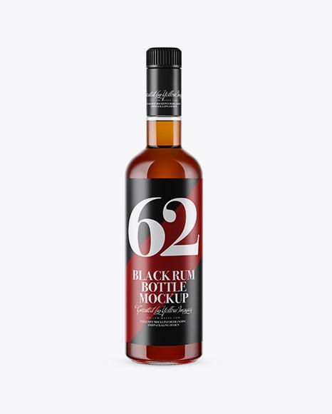 Download Clear Glass Rum Bottle Mockup Object Mockups