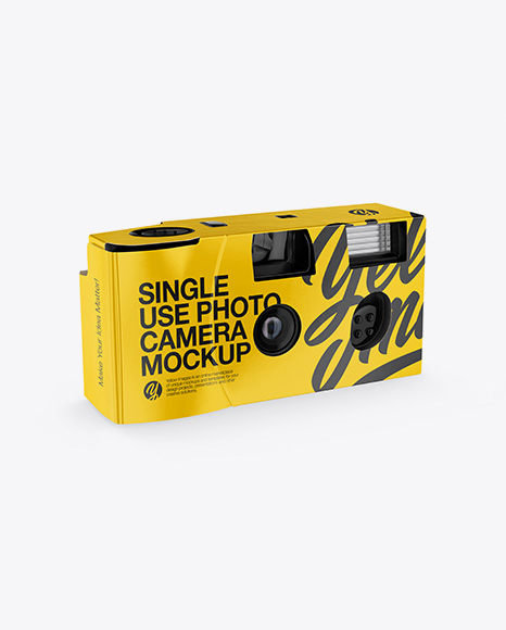 Disposable Camera Mockup - Front Half Side View