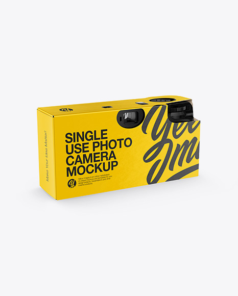 Disposable Camera Mockup - Back Half Side View
