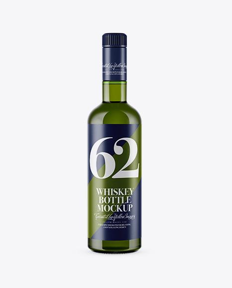 Green Glass Whiskey Bottle Mockup