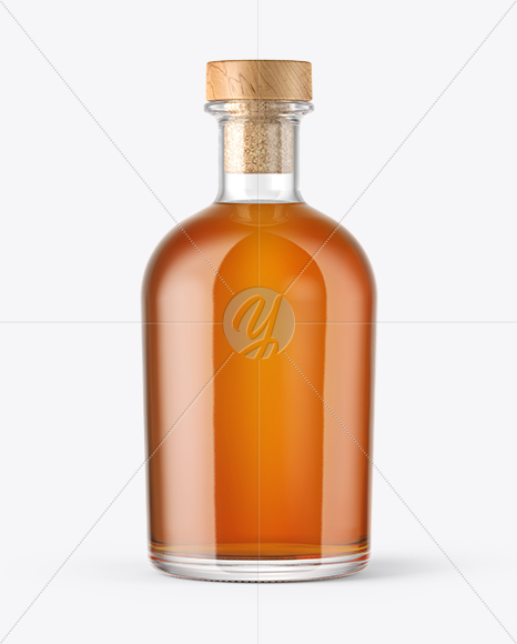 Whiskey Bottle with Wooden Cap Mockup