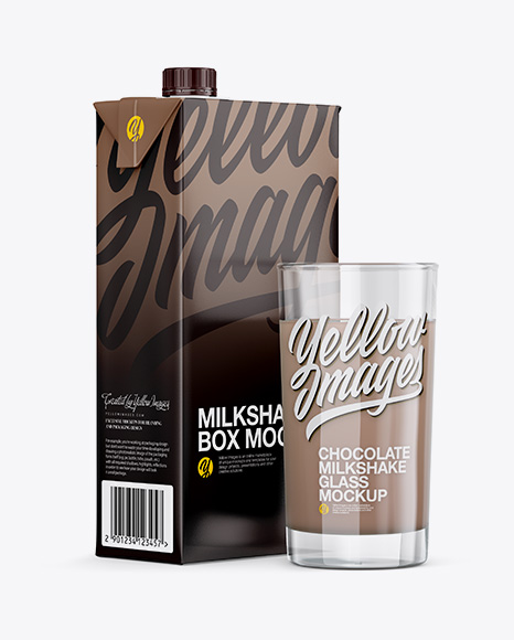 Download 1L Carton Pack With Chocolate Milkshake Glass Mockup - Halfside View Object Mockups
