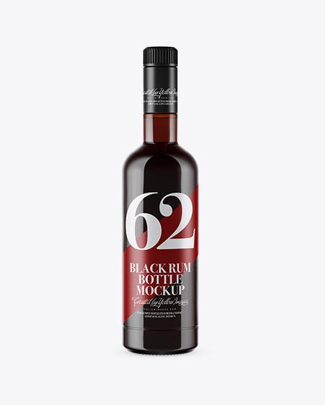 Amber Glass Black Rum Bottle Mockup