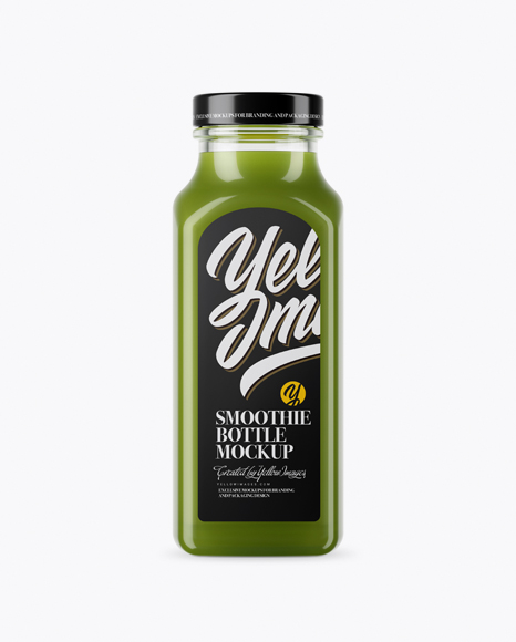 Download Clear Glass Bottle With Green Smoothie Mockup Object Mockups