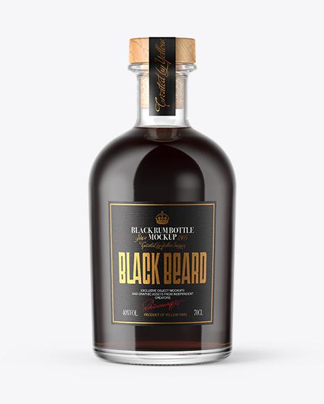 Download Black Rum Bottle with Wooden Cap Mockup Object Mockups