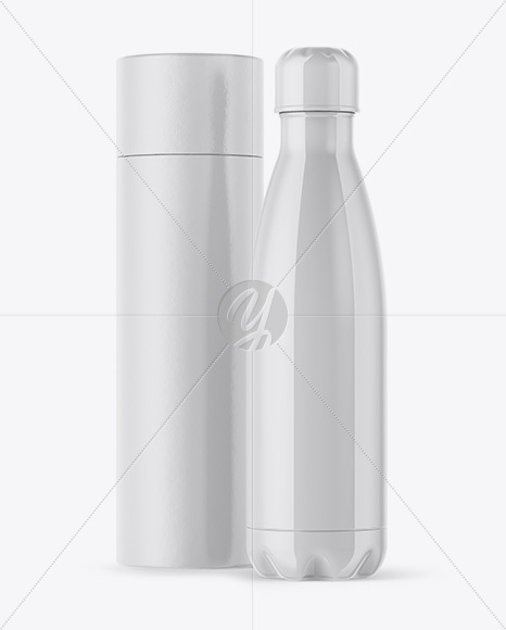 500ml Glossy Bottle with Paper Tube Mockup