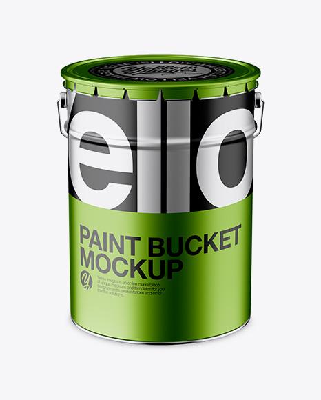 Download Metallic Paint Bucket Mockup - Front View (High-Angle Shot) Object Mockups
