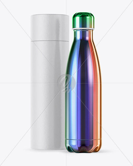 500ml Chameleon Stainless Steel Bottle with Paper Tube Mockup