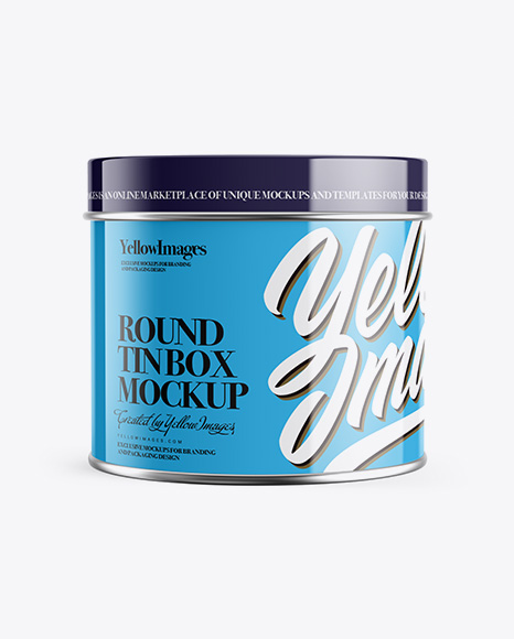 Download Free Glossy Round Tin Can Box Mockup PSD Template