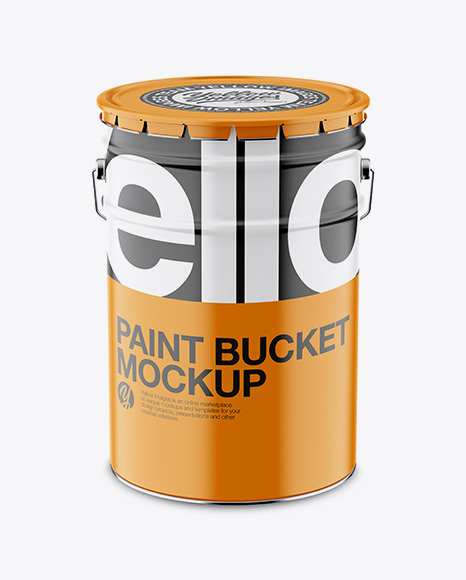 Download Free Matte Paint Bucket Mockup - Front View (High Angle Shot) PSD Template