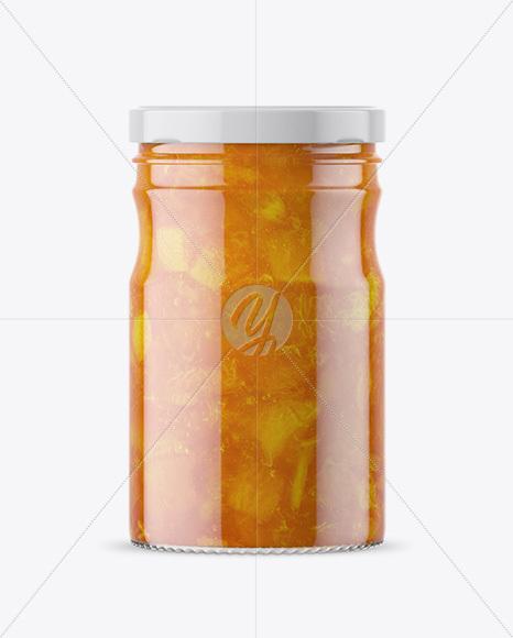 Clear Glass Jar with Apricot Jam Mockup