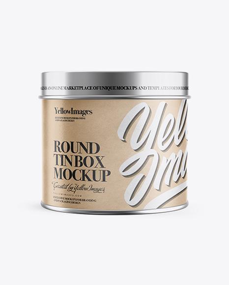 Download Free Round Kraft Tin Box Mockup PSD Template