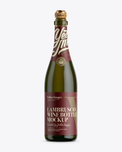 Download Antique Green Lambrusco Wine Bottle Mockup Object Mockups