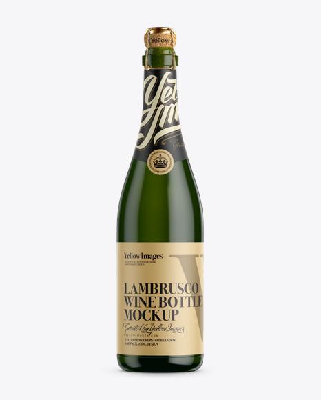 Download Green Glass Lambrusco Wine Bottle Mockup Object Mockups