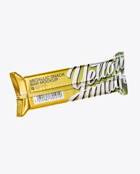 Matte Metallic Snack Bar PSD Mockup Halfside Back View High-Angle Shot 25.73MB