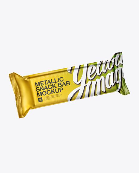 Matte Metallic Snack Bar PSD Mockup Halfside Front View High-Angle Shot 24.71MB