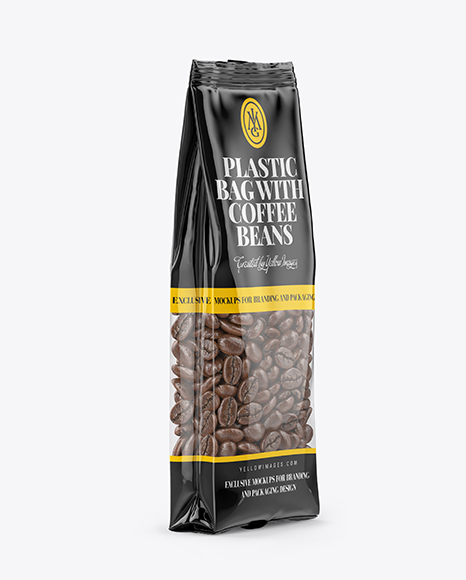 Download Clear Bag With Coffee Beans Mockup - Halfside View Object Mockups