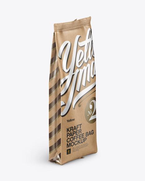 Download Kraft Paper Coffee Bag Mockup - Halfside View Object Mockups