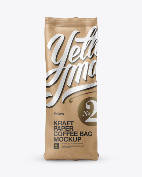 Kraft Paper Coffee Bag Mockup - Front View