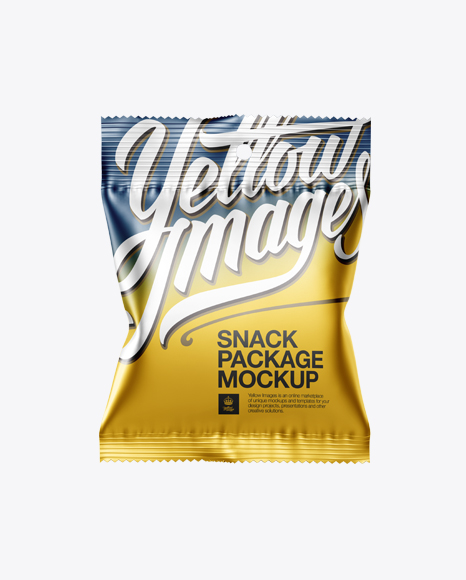 Download Matte Metallic Snack Package Mockup - Front View Object Mockups