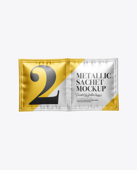 Download Matte Metallic Sachet Mockup Front View PSD - Free PSD Mockup Templates