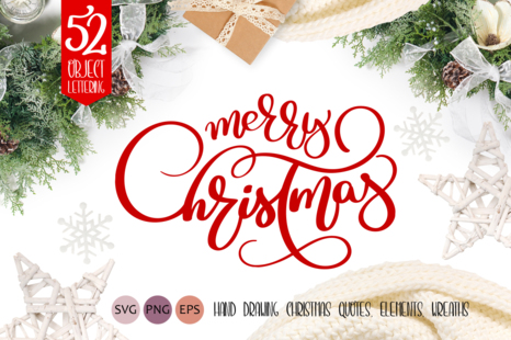 Christmas Quotes Svg.Merry Christmas Quotes And Objects Calligraphy Collection In