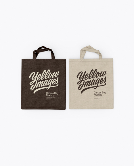 Download Two Canvas Bags Mockup - Top View Object Mockups