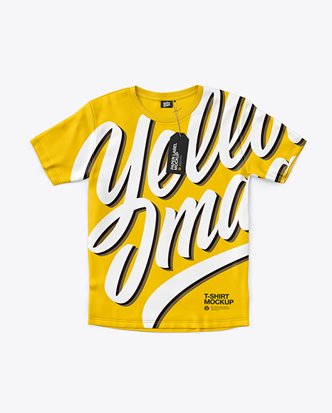 Download T Shirt With Label Mockup Top View Object Mockups