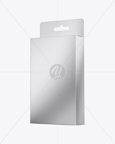 Metallic Box Mockup - Half Side View (High-Angle Shot)