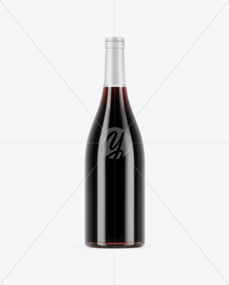 750ml Clear Glass Red Wine Bottle Mockup