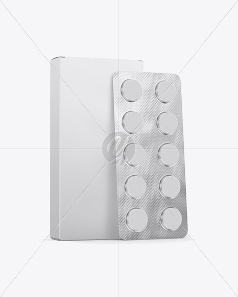 Paper Box With Tablets In Blister Mockup - Half Side View