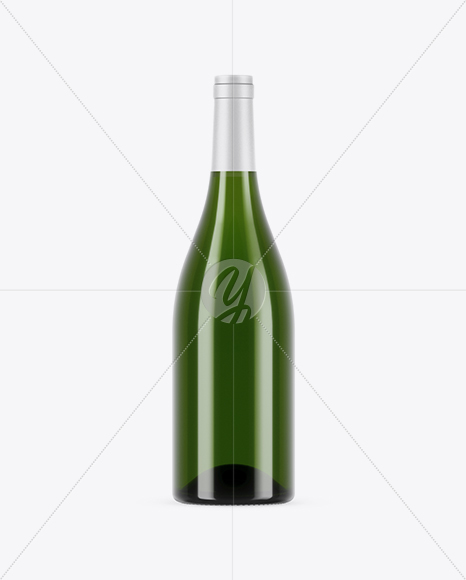 750ml Green Glass White Wine Bottle Mockup