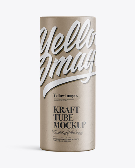 Download Free Textured Kraft Tube Mockup - Front View PSD Template